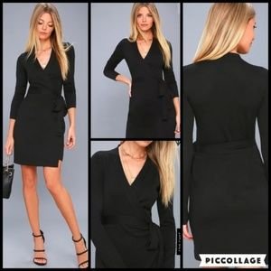 Lulu's Black Wrap Sweater Dress